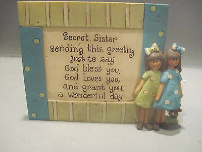 SECRET SISTER GREETING  PLAQUE W/ GIRL by Blossom Bucket  (119)