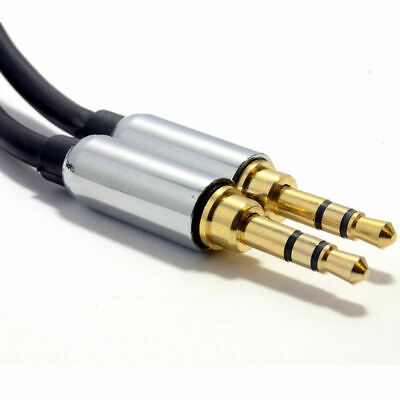 1m PRO BLACK 3.5mm Jack Male to Male Stereo Audio Cable Lead GOLD [006907]