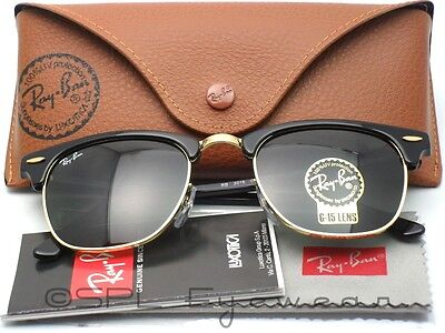 Ray Ban RB 3016 W0365 CLUBMASTER Black & Gold 100% Authentic Green Lens 49 mm