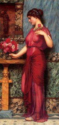 Art Oil painting John William Godward - An Offering To Venus young girl & roses