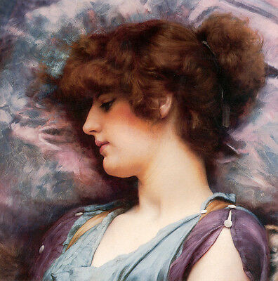 Art Oil painting John William Godward - Far Away Thoughts nice girl beauty