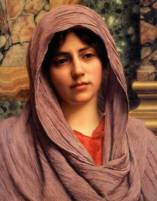 Art Oil painting John William Godward - Female portrait young girl with scarf