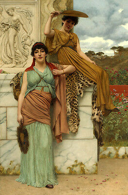 Art Oil painting John William Godward - Waiting for the Procession nice girls