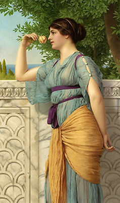 Art Oil painting John William Godward Memories young beauty holding yellow roses