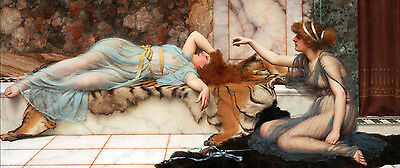 "48"" Oil painting John William Godward Mischief and Repose young girls beauties"