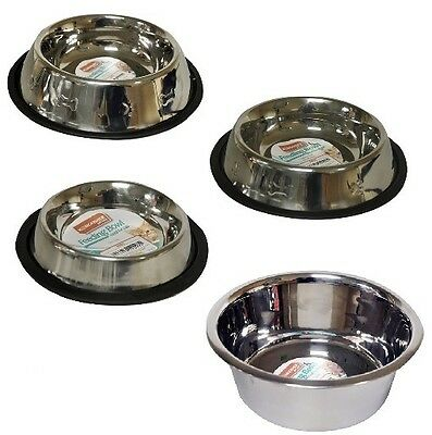 *Stainless Steel Non Slip Pet DOG/CAT Feeding Bowls Dishwasher Safe - Free P&P*