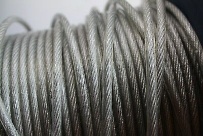 4mm Galvanized Steel Clear PVC Plastic Coated Wire Rope Boat Various Length