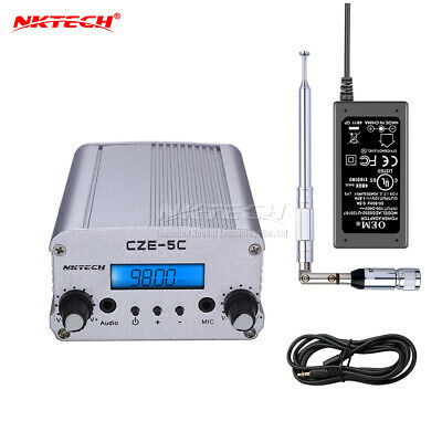 1W/5W FM Stereo PLL Transmitter Radio Broadcast Station +Ant.+Power Supply B0229