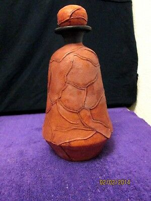 OOAK ART POTTERY Hand Thrown True Leather Covered Canister Made In Mexico
