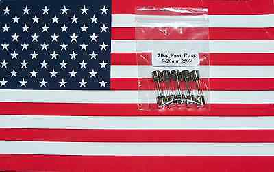5pcs 20A 250V 5x20mm Glass Fast Fuse, US Seller