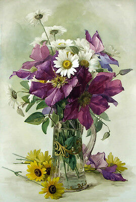 Oil painting Raoul Maucherat de Longpre Large Purple Clematis and White Daisies
