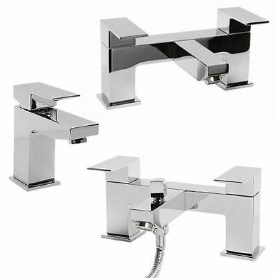 Modern Chrome Square Bathroom Basin Mixer | Bath Filler | Shower Tap Pack Set