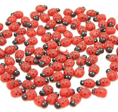 100 Mini wooden red ladybirds,  ladybugs craft card wood toppers embellishments