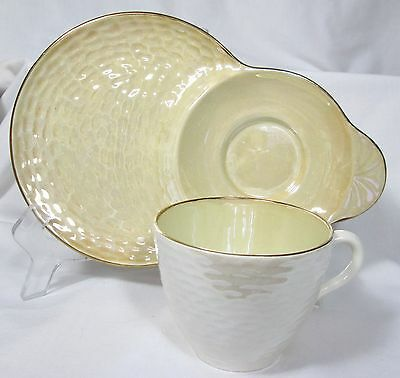 Pretty Vintage Maling Newcastle-On-Tyne Lunch Plate & Cup Yellow Lustreware
