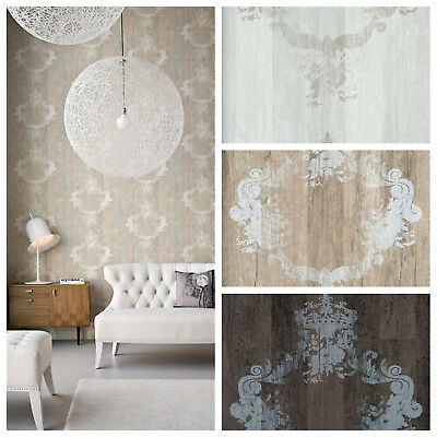 Vlies Tapete Antik Holz Muster Ornament Barock Braun Grau Beige Elements