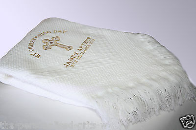 Personalised Christening Shawl - Embroidered Baby Baptism Shawl ANY NAME - FAST!