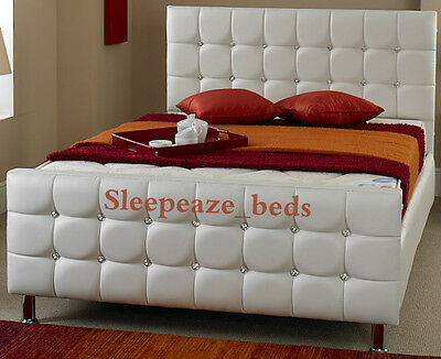 White Black Cream Pink Brown Leather Bed Frame Single Double King Size