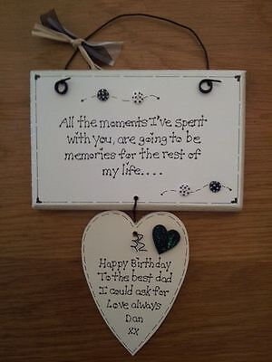 Handmade personalised Dad Fathers day Love Husband Wife Partner plaque sign