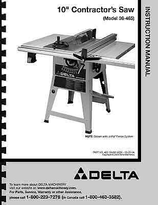 delta 10 table saw instruction manual for model no 36 465 11 99 rh picclick com Delta Shopmaster Table Saw Review 9 Delta Table Saw
