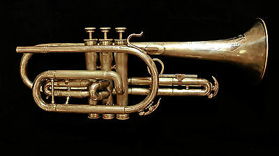 Vintage Buescher Silver Cornet with Gold Wash Bell