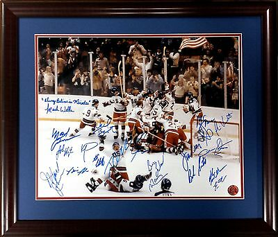 1980 USA Olympic Gold Medal Hockey Team Signed and inscribed Framed 16x20 Photo