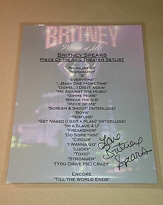 Britney Spears Piece Of Me Las Vegas Tour Residency Signed Setlist Laminate Vip!