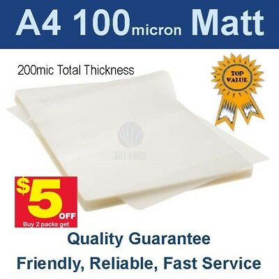 A4 Laminating Pouches Film  100 Micron Matt (PK 100)