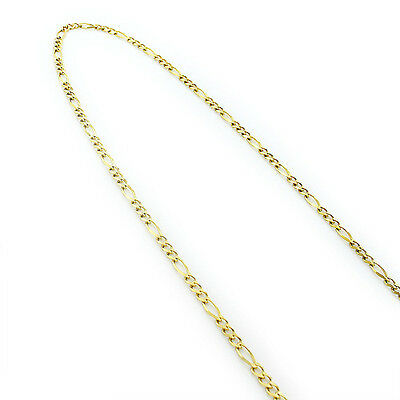 Solid 10k yellow gold Chain Figaro link chain 2mm & 3.5mm Lobster clasp necklace