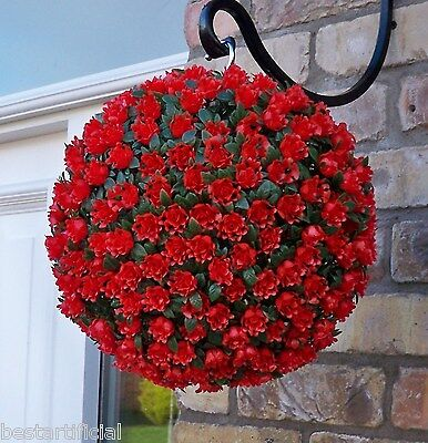 Best Artificial 28cm Red Rose Topiary Hanging Flower Ball Grass Plant New