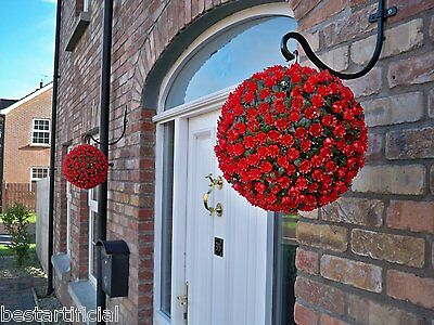 2 Best Artificial 28cm Red Rose Topiary Hanging Flower Balls Grass Plant New