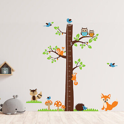 Wall Stickers Mural Decal Paper Art Fox Tree Height Measure Kids Children