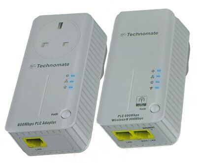 Technomate 600mbps Powerline Homeplug Adapter Set with WiFi