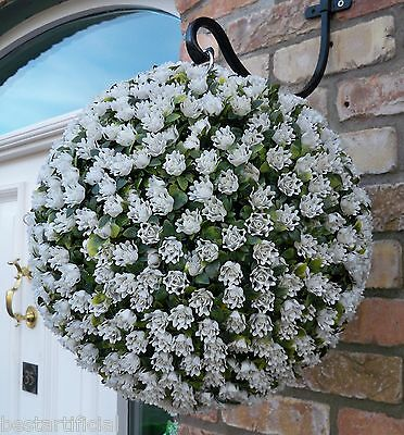 Best Artificial 38cm White Ivory Rose Topiary Hanging Flower Ball Grass Plant