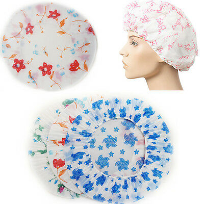 3 x Assorted Shower Caps Reusable Bath Clear Plastic Head Hair Cover Salon Cap