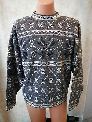 VTG 90s Nature Co Men Unisex Ugly Cool Xmas Sweater SkiLodge Gray Snow Flakes M