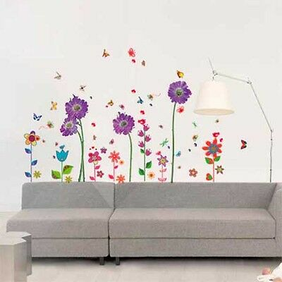 Purple Flower Colourful Flower Wall Stickers Mural Decal Paper Art Decoration
