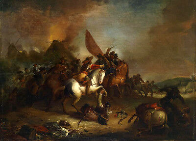 Huge Oil painting portraits Fight on the battlefield Soldiers horsemen canvas