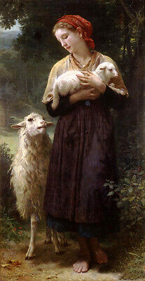 Art Oil painting Bouguereau - The Newborn Lamb Girl Shepherdess with sheep 36""