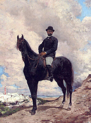Huge Oil painting Georges Jules Victor Clairin - Horseman Minister Of Tangiers