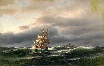 Dream-art Oil painting seascape nice sail boats on ocean with waves before storm