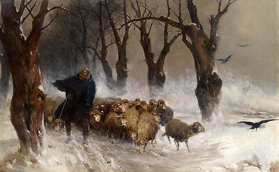 Perfect Oil painting portrait Shepherd with his sheep in winter snowstorm canvas