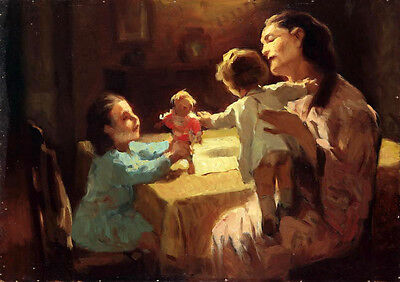 Perfect Oil painting impressionism young mother with children and doll canvas