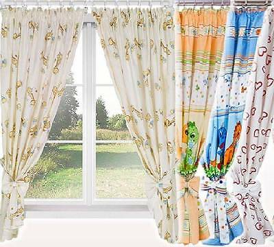 Junior Kids Baby Room Nursery Window Curtains Tape Pencil Pleat Tiebacks Pattern