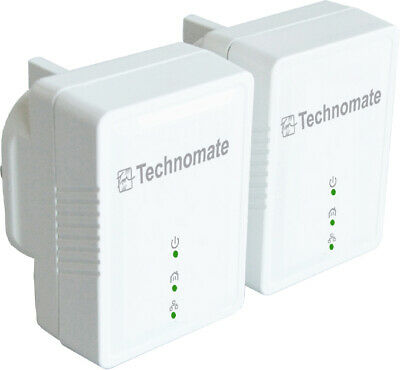 Set 200 MBPS Powerline Adapter Twin Pack Kit - Homeplug Networking Technomate