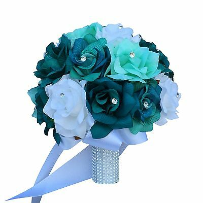 """10"""" Bridal Bouquet - Teal Jade White Roses Artificial Flowers"""