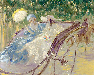 Huge Oil painting impressionism young women portraits on carriage in Landscape
