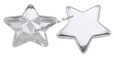 40 PERLES STRASS CABOCHON ETOILE A COLLER ACRYLIQUE TRANSPARENT 10 mm - BIJOUX