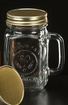 Set of 6 County Fair Drinking Mason Jar 16 oz with Handle and LID Libbey 97085