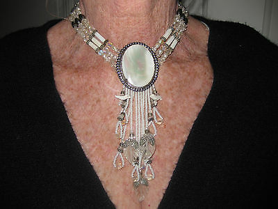 Beautiful unique Mother of Pearl Crystal stone necklace with matching earrings