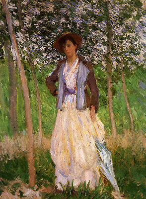 Oil painting Claude Monet - The Stoller (Suzanne Hoschede) young lady in forest